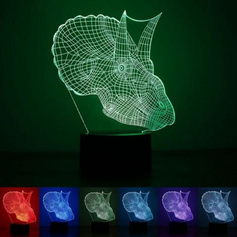 Dinosaur Head Pattern 3D LED Illusion Night Light  Design 7-Color for Kids