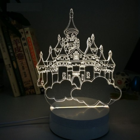 City of Sky 3D Illusion LED Table Desk Night Light Bedroom Decor Lamp