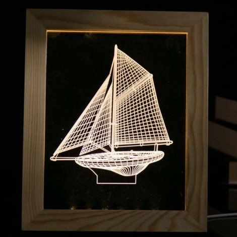 3D LED Sailing Wooden Photo Frame Table Lamp Creative USB Night Light