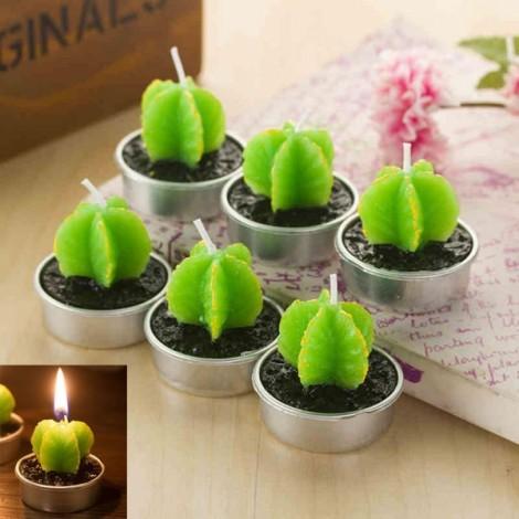 6pcs Rare Simulation Plant Candle Mini Smokeless Candle Home Garden Decor Leaf Cactus