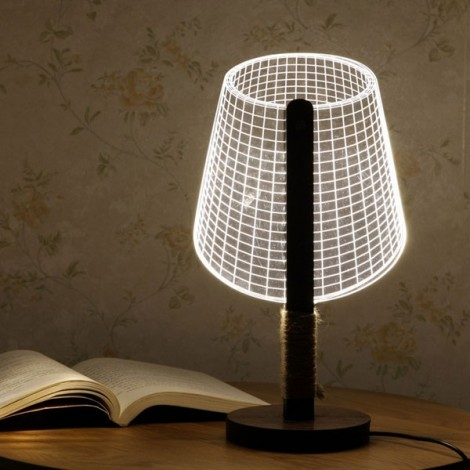3D Illusion LED Table Lamp Adjustable w/ Luminous Lampshade 007 US Plug