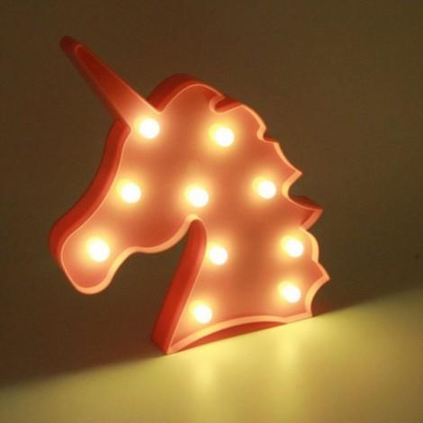 Unicorn Head Shape LED Night Light Bedroom Party Decoration Light Pink