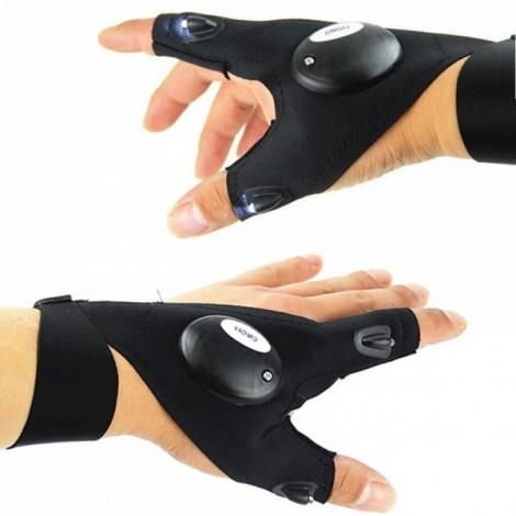 Multifunctional EDC Fishing Fingerless Glove LED Repair Flashlight Right & Left