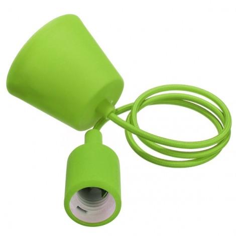 Colorful E27 Silicone Rubber Pendant Light Lamp Holder Socket for Bar Room Restaurant Green