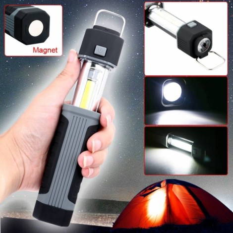 multifunction 3W COB LED Stretchable Flashlight Camping Light w/ Magnet Black