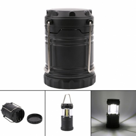 Outdoor Portable COB Camping Light Rechargeable for Hiking Size L Black