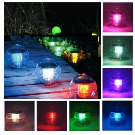 Waterproof LED Solar Floating Light 7 Colors Changing Hanging Globe Ball Lamp Decoration
