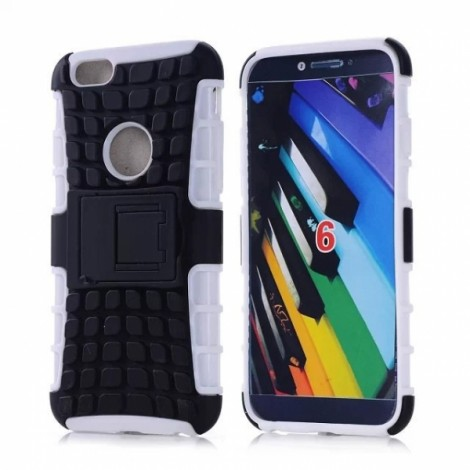 """Unique Tire Texture Silicone & PC Back Cover Holder for iPhone 6/6S 4.7"""" White"""