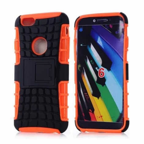 "Unique Tire Texture Silicone & PC Back Cover Holder for iPhone 6/6S 4.7"" Orange"
