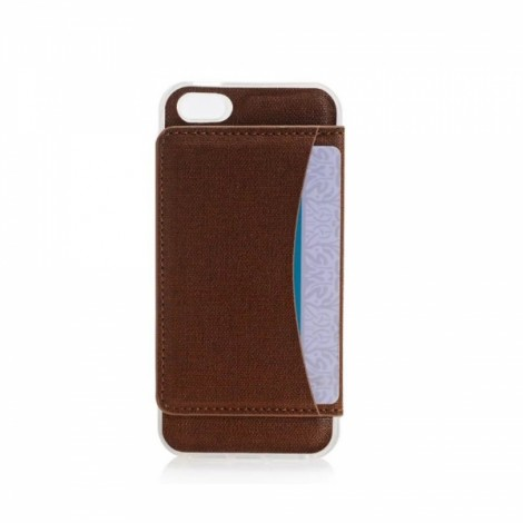 Loose Sheet with Card Clip Multi-functional Back Shell for iPhone 7 Brown