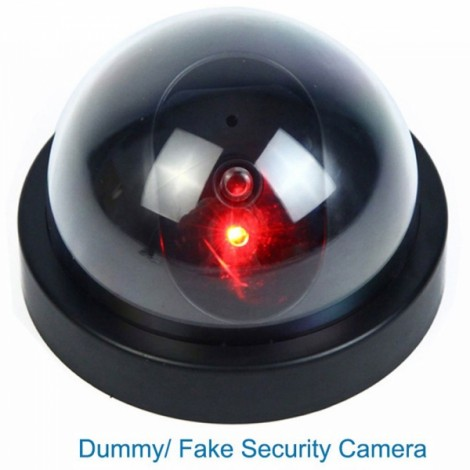 Dummy Fake Dome CCTV Security Camera with Red LED Light Size L