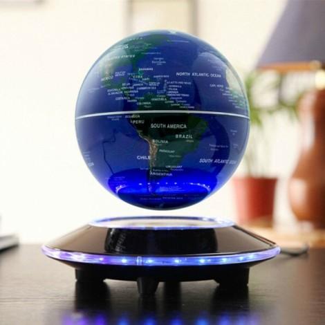 """6"""" UFO Shaped Base Maglev Levitating Globe World Map Blue & Black"""