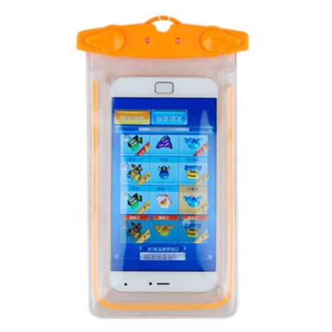Universal Waterproof Fluorescent Underwater Pouch Case Cover for Mobile Phones Orange