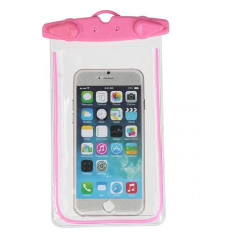 Universal Waterproof Fluorescent Underwater Pouch Case Cover for Mobile Phones Pink
