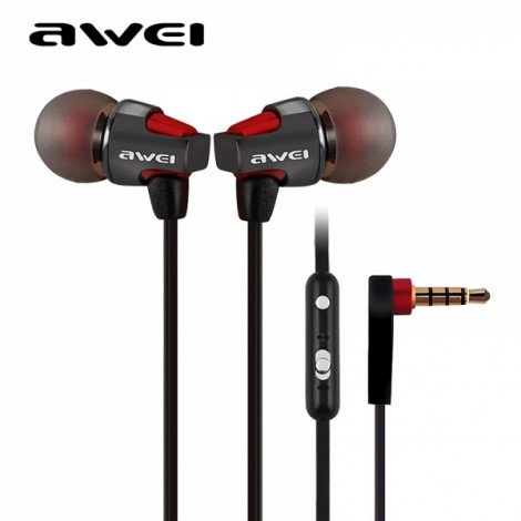 AWEI ES860hi 1.2m Flat Cable Super Bass In-ear Earphones with Mic Volume Control for Smartphone Tablet PC Red