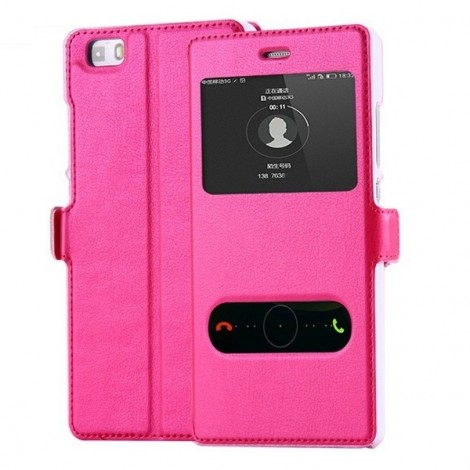 PU Leather Flip Open Smart Window Protective Case for Huawei Ascend P8 Lite Rose Red