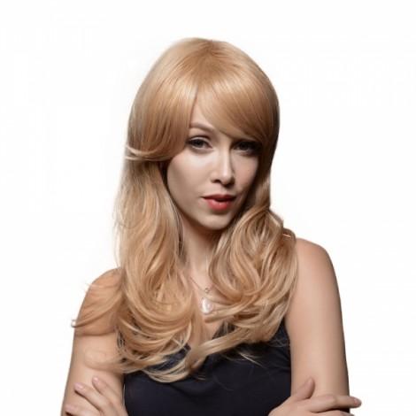 "23"" Virgin Remy Human Hair Full Net Cap Woman Long Curly Hair Wig with Bang Linen Yellow"