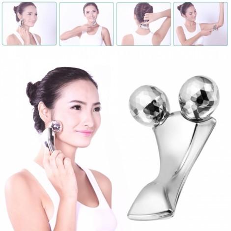 3D Y-shape Solar Micro Platinum Roller Face & Body Slimming Tightening Massager Silver