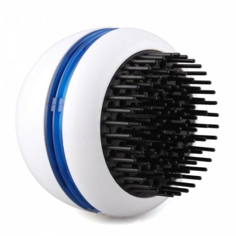 Mini Round Electric Vibrating Hair Scalp Head Massager Comb Brush White & Blue