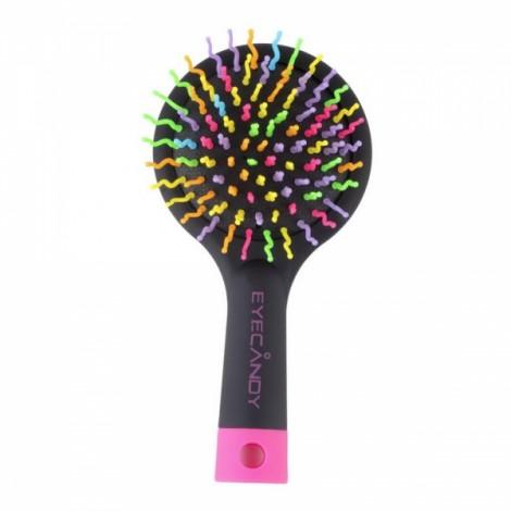 Rainbow Volume Anti-static Magic Detangler Curly Straight Hair Massage Comb with Mirror Black