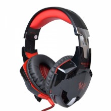 KOTION EACH G2000 Over-ear Gaming Headphone with Mic Stereo Bass LED Light for PC Black & Red