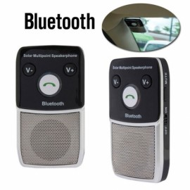 Car Solar Charger Dual Connected Bluetooth Handsfree Speaker Sound Control MP3 Player Black