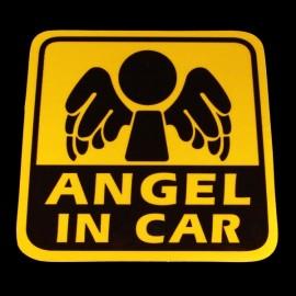 DIY ANGEL IN CAR Pattern Reflective PVC Car Decorative Sticker Golden & Black
