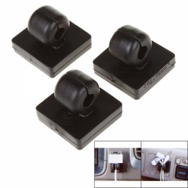 3pcs Stylish Easy-to-Paste Wire Cord Cable Clip Pack for Car Black