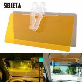 2-in-1 Car Anti-Glare Sunshade Day Night Vision Driving Mirror Sun Visor Yellow & Transparent Gray