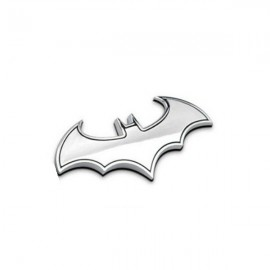 Cool Bat Shaped Pattern Metal 3D Car Sticker Decoration Silver