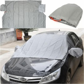 Car Windshield Cover for Snow and Ice Cotton Mirror Protector Gray