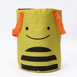 Cute Cartoon Foldable Vehicle Hanging Trash Can Waste Bin Storage Bag Yellow Bee Pattern
