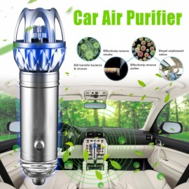 Car Ionizer Air Purifier Negative Ions Oxygen Bar With Light Silver