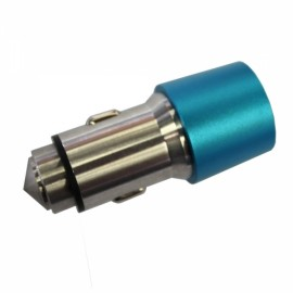 Dual-port USB 2.1A 12-24V Stainless Steel Safety Hammer Car Charger Blue