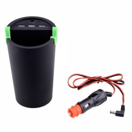 WF-066 Multi-functional 3-USB Port Car Cigarette Charger / Phone Holder / Trash Can / Ashtray Black & Green