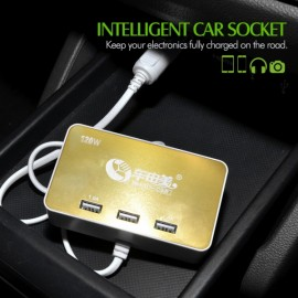 BEAUTY-CAR High Power 3 in 1 Vehicle Lighter USB Charger Golden & White
