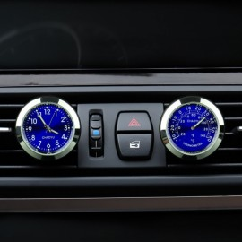 Car A/C Vent Clip Thermometer Clock Gauge Trim Perfume Refill Storage Fragrance with 140g Perfume Blue Thermometer + Blue Clock