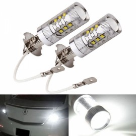 2pcs H3 80W Super Bright LED White Fog Tail Turn DRL Head Car Light Lamp Bulbs Silver