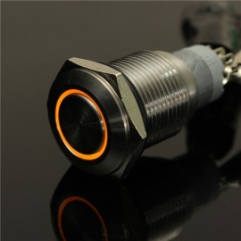 12V 16mm Angel Eye Metal Illuminated LED Push Button Switch Car Dash Orange Light