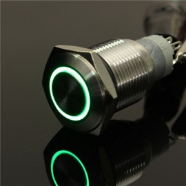 12V 16mm Angel Eye Metal Illuminated LED Push Button Switch Car Dash Green Light