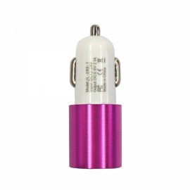 Dual USB 2.1A 12-24V Screw Groove Section Style Car Charger Rose Red