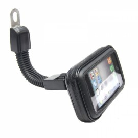 Motorcycle Phone Holder Rearview Mirror Mount Mobile Phone Case Bag Black M