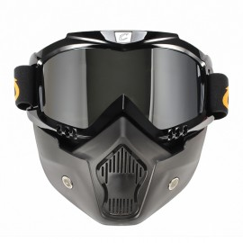CYCLEGEAR Motorcycle Windproof Dustproof Helmet Goggles Set with Removable Mask Transparent