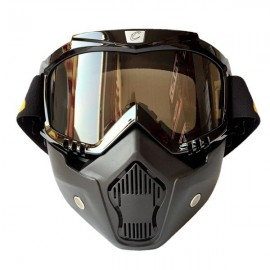 CYCLEGEAR Motorcycle Windproof Dustproof Helmet Goggles Set with Removable Mask Tawny