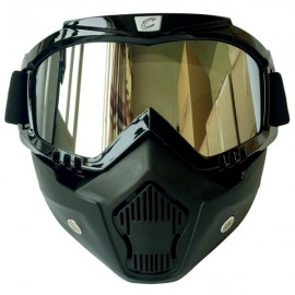 CYCLEGEAR Motorcycle Windproof Dustproof Helmet Goggles Set with Removable Mask Silver