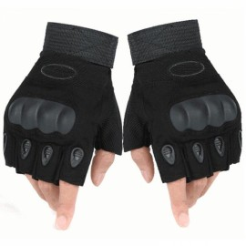Outdoor Tactical Microfiber Half Finger Gloves for Riding Camping Hiking Black L