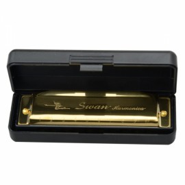 New Swan Key of G 10 Holes 20 Tone Diatonic Harmonica Golden for Student
