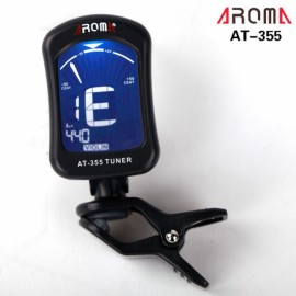 AROMA AT-355 Portable Clip-on Electric Tuner Backlit Screen for Guitar Chromatic Bass Ukulele Black
