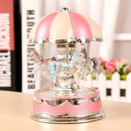 Romantic Dome Carousel Music Box Birthday Christmas Gift with Light Pink