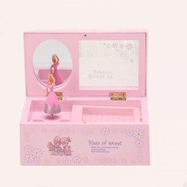 Creative Rectangular Rotating Girl Mechanical Musical Box Jewelry Box with Transparent Cover Pink